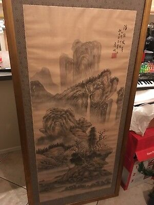 Japanese Chinese Asian Scroll Painting Ink Wash Kakemono
