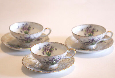 Vintage Napco Cup and Saucer Set of 3 Purple Gold Handpainted