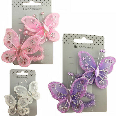 Butterfly Hair Band Bobbles Shiny Ballet Party Dance Bands Scrunchie Elastic Tie