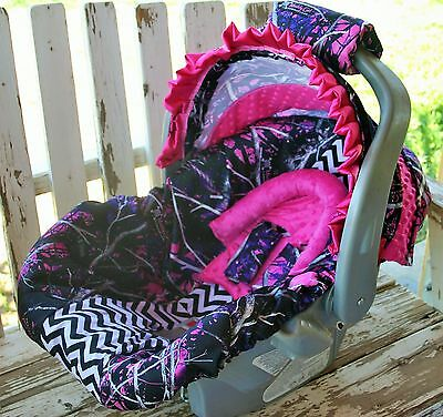 Muddy Girl W Pink Minky Infant Car Seat Cover And Hood