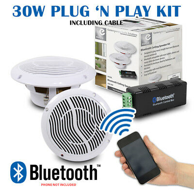 "Kitchen & Bathroom Wetroom Bluetooth Wireless Amplifier 2 x 5"" Ceiling Speakers"