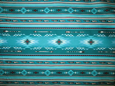 Navajo Native American Feather Arrow Teal Red Black Print Cotton Fabric BTHY