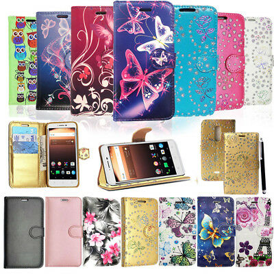 For Alcatel A3 XL 3G Genuine Black PU Leather Wallet Phone Case Cover