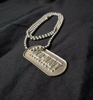 Vintage Old Navy Clothing Co. Dog Tag and Chain Neckless Metal Rare