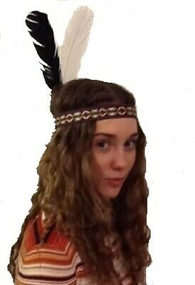American Red Indian Wide Woven Headband With Two Feathers