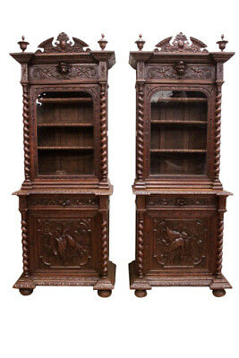 Rare Find, Matching Pair of Hunt Cabinets Narrow Model, Oak, 19th Century