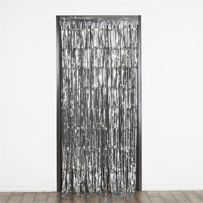 SILVER Sparkling Metallic FOIL CURTAIN 3 ft x 8 ft Party Wedding Decoration