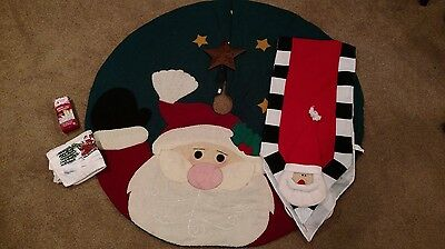 Lot Of 6 Assorted Christmas Items Dish Towels Mini Lights Star And Santa Runner