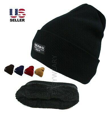 Mens Womens Knit Thinsulate Solid Winter Cuff Thermal Warm Snow Beanie Hat Cap