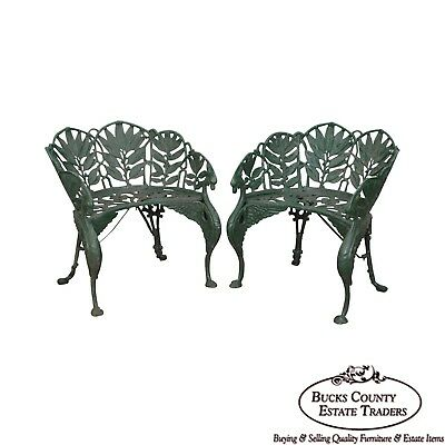 Laurel Pattern Antique Pair of Cast Iron Garden Benches-after Coalbrookdale (A)