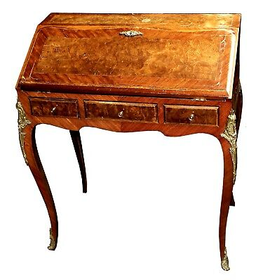 Antique French Louis XV Style Gilded Burlwood Ladies Secretary Desk