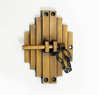 """3.58"""" inches Vintage Retro Asian Bamboo Latch Solid Brass Door Box Latch Lock"""