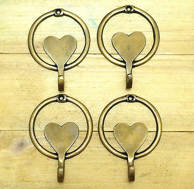 Lot of 4 pcs Vintage LOVE Round shaped Solid Brass Wall Coat Hat HOOK Hanger