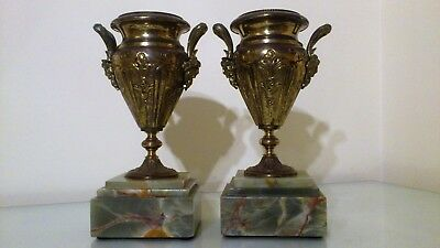 Antique French Green Onyx & Gilt Metal Mantel Clock Garniture.