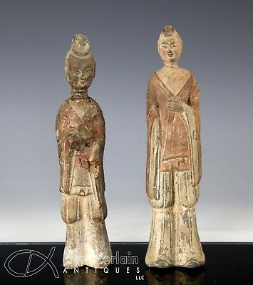 Authentic Pair Of Antique Chinese Pottery Statues - Northern Wei Dynasty