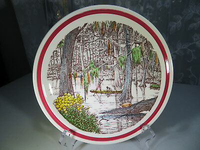 Vernon Kilns Ceramic Pottery Bits of the Old South Cypress Swamp Plate 8''1/2