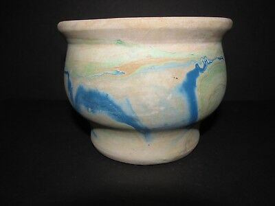 Small Nemadji Pottery Tan with Green and Blue  Swirl Bowl Planter