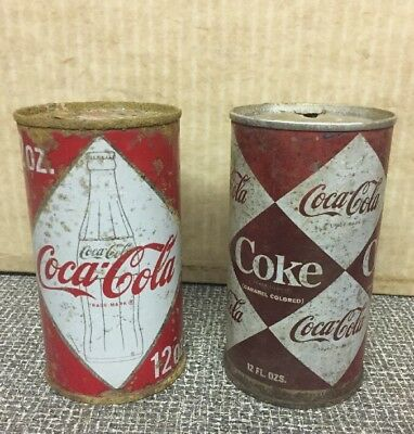 VINTAGE COCA COLA CAN Lot Of 2 Diamond Cans