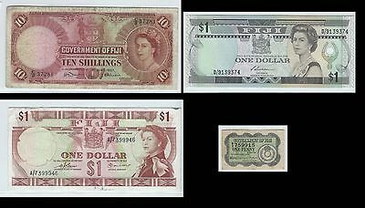 Government of Fiji  0ne penny 10 shillings  & 2 $1 banknotes - see 9 scans QEII