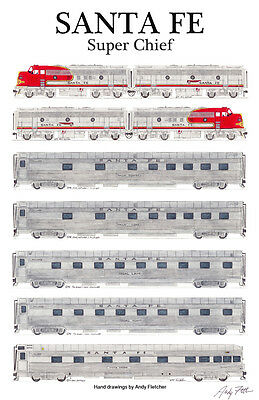 """Santa Fe Super Chief 11""""x17"""" Railroad Poster by Andy Fletcher signed"""