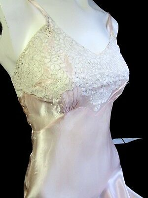 Lot of Two 40's Vintage women's Slips, Pink & Cream, Bias Cut Slimster & Fischer