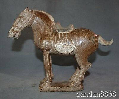 "11"" rare chinese old Jade FengShui zodiac year tang horse success lucky Statue A"