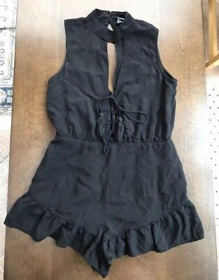 aeecea15b9be FOREVER 21 FXXI black romper small jumpsuit Dress sleeveless one piece S  New LBD -  12.99