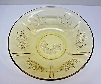 "VINTAGE 1930's YELLOW DEPRESSION GLASS ROSE PATTERN 8.5""  Serving Bowl"