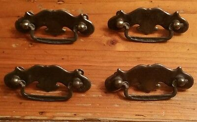 Lot of 4 Vintage Metal Chippendale Style Drawer Drop Pull Handles Hardware Too