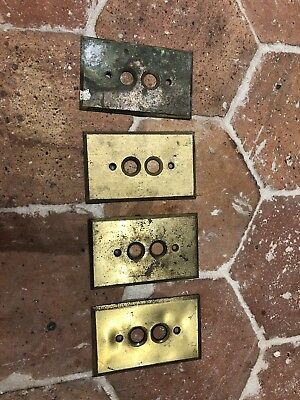 Vtg Antique Brass Push Button Switch Plate Cover Lot