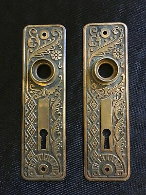 ANTIQUE Pair Of Eastlake Stamped Brass Cairo Design BACKPLATES