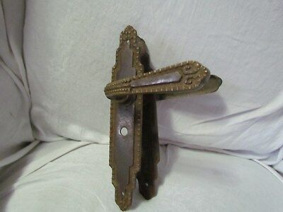 "Antique Beautiful Door Handle And Face Plate Made In Spain 9 1/4"" Tall Brass"