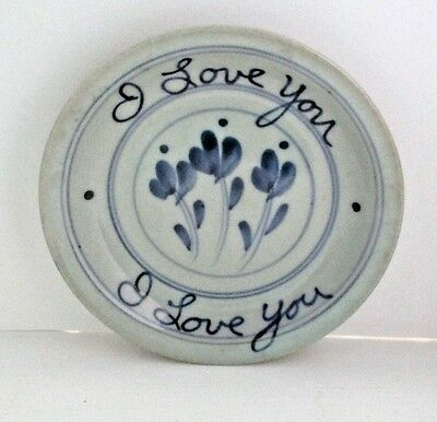"""Mid-Century """"I LOVE YOU"""" Plate Pottery Scandinavian?  Unknown Mark"""