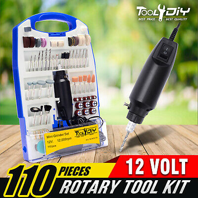 TOOL4DIY 110pcs 12V Mini Grinder Electric Rotary Tool Polishing Drilling Kit Set