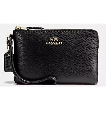 NWT Coach Corner Zip Wristlet In Crossgrain Leather Black F58032 🌹Authentic!!