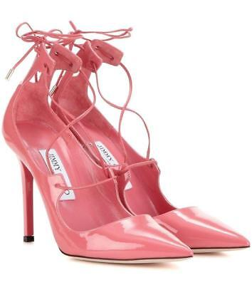 bf4a7b8af567 Jimmy Choo Vita 100 Pink Patent Leather Pumps Pointy Toe Lace Up Shoe 37