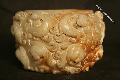"7"" Chinese White Jade Hand-carved 9 Dragon Beast Pot"