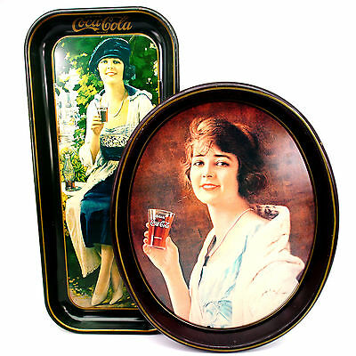 2 Vintage 1973 Coca Cola Coke Soda Advertising Tin Trays Gibson and Flapper Girl