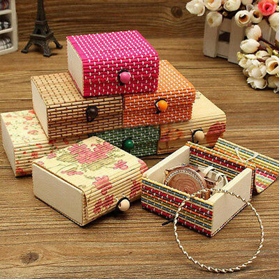 Ring Necklace Earrings Bamboo Wooden Case Jewelry Storage Boxes Holder Posh Box