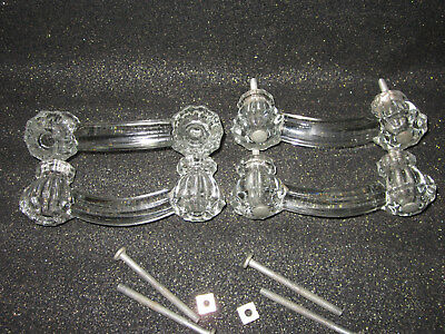 4 PC Vintage CRYSTAL CLEAR GLASS Mid Century DEPRESSION GLASS DRAWER PULLS LQQK