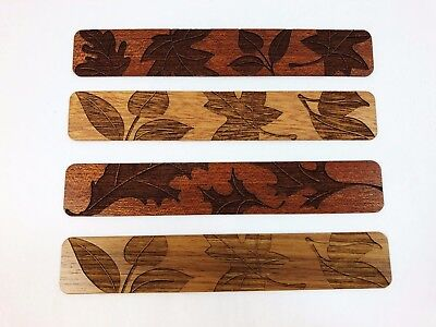 Handmade Engraved Leaves Wood Bookmark by Mitercraft Studio Made in USA