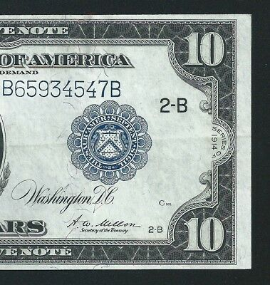 1914 $10 FEDERAL RESERVE NOTE  <<< Fr.911c >>> KEY NOTE == NEW YORK ==