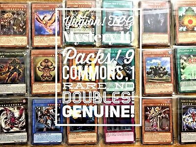 Yugioh! TCG Genuine Mystery 10 Packs! 9 Commons, 1 Rare! No Doubles,NM
