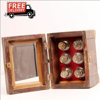 Old Wooden Fine Brass Inlay Fitted Handcrafted Perfume Box With 6 Bottles 7026