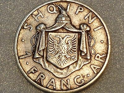 Albania 1935 R silver 1 Frang Ar Franc King Zog I Rome mint nice grade uncleaned