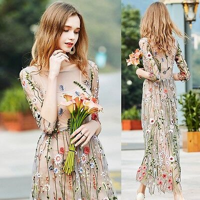 Womens Embroidered Lace Floral Long Sheer Mesh Cocktail Evening Party Maxi Dress