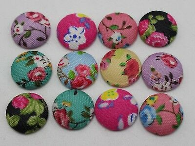 50 Mixed Color Flatback Fabric Flower Covered Button 12mm Round Cabochon for DIY