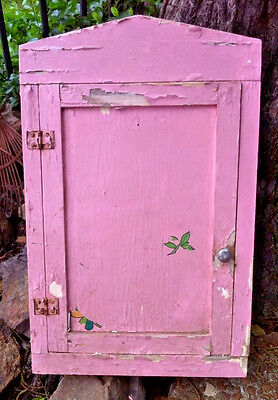 large primitive antique wooden medicine cabinet wood shabby pink shelf shelves