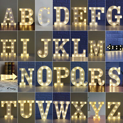 Alphabet 26 Letters Lights LED Light Up White Warm Marquee Standing Hanging A-Z