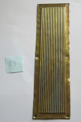 Vintage Brass Finger Plate Push Door Handle Reeded Ribbed Architectural Antique